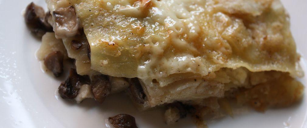 Lasagne au foie-gras, champignons & ricotta